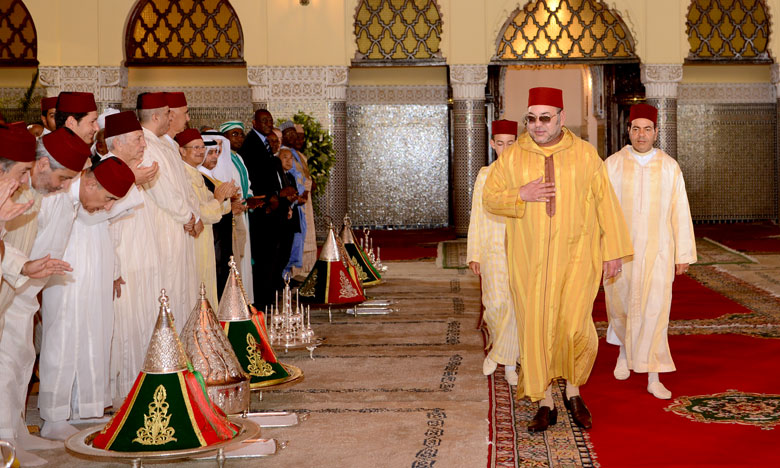 Le roi Mohammed VI présidant la cérémonie de baptême du prince Moulay Ahmed, fils du prince Moulay Rachid au Palais royal de Rabat le 7 juillet 2016 © DR