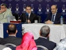 Saad Dine El Otmani, SG du PJD entouré d'El Mostapha Ramid et de Idriss El Azami El Idrissi