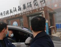 Des membres de l'équipe de l'Organisation mondiale de la santé (OMS) enquêtant sur les origines du coronavirus arrivent en voiture à l'Institut de virologie de Wuhan (WIV), dans la province centrale du Hubei, en Chine, le 3 février 2021 © AFP