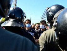 Sit-in des enseignants contractuels à Rabat le 22 mars dernier © Rachid Tniouni/TelQuel