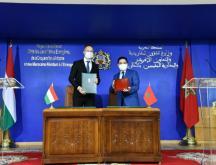Péter Szijjártó, le ministre hongrois des Affaires étrangères, a été reçu par son homologue marocain Nasser Bourita © Le ministère des Affaires étrangères