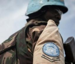 Un casque bleu de la Minusca en Centrafrique, Gamboula, 6 juillet 2018 © AFP