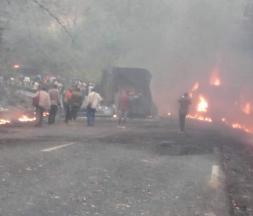 Collusion entre un bus de transport en commun de 70 places venant de Douala, le 27 janvier © DR