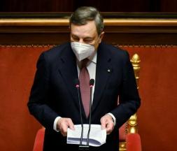 Le Premier ministre italien Mario Draghi au Parlement, mercredi 17 février 2020
