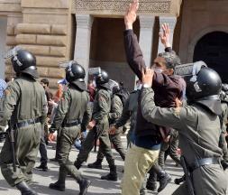 Photo prise lors de la manifestation des contractuels à Rabat © Mounir Mehimdate