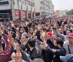 Rassemblement des enseignants, ce mercredi 7 avril à Rabat © DR