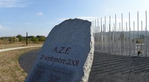 Pierre portant le nom des victimes de la catastrophe d'AZF, lors de la commémoration organisée le 21 septembre 2016 © AFP