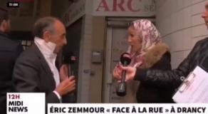 Une femme retire son voile face à Zemmour