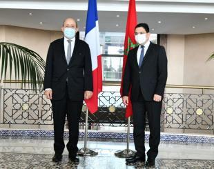 Le ministre des Affaires étrangères Nasser Bourita en compagnie de son homologue français Jean Yves Le Drian © DR