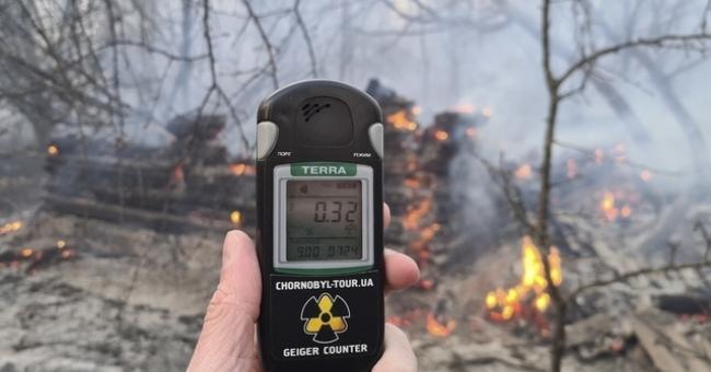 Feu de forêt à Tchernobyl