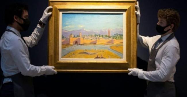 La toile de l'ancien Premier ministre britannique, Winston Churchill, représentant le minaret de la mosquée Koutoubia à Marrakech