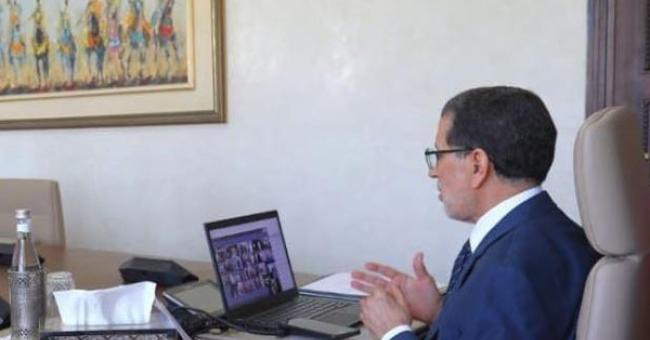 Saad Dine El Otmani, Chef du Gouvernement, lors d'un Conseil de gouvernement tenu par visioconférence en raison de la pandémie de la Covid-19