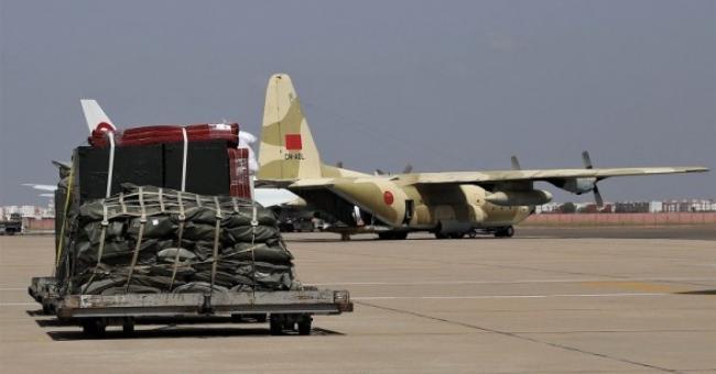 Les produits alimentaires de base acheminées à bord des avions militaires marocaines au profit du Liban © MAP