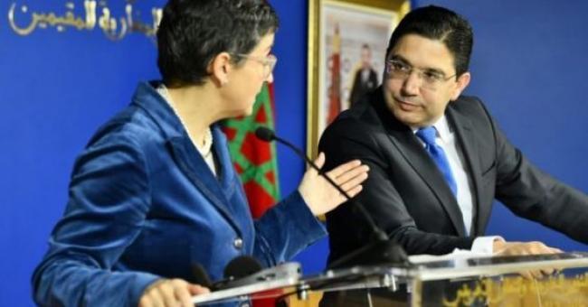 Les chefs de la diplomatie du Maroc et de l'Espagne, Nasser Bourita et Arancha Gonzalez Laya © DR