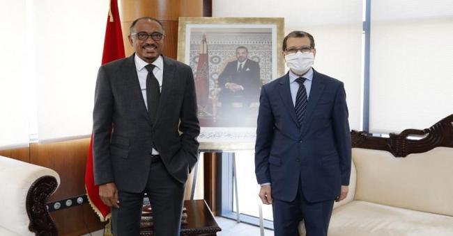 Saad Dine El Otmani, Chef du gouvernement, en compagnie de Michel Sidibé, l'Envoyé spécial de l'Union africaine (UA) pour l'Agence africaine du médicament (AMA), le 2 juin à Rabat  © DR