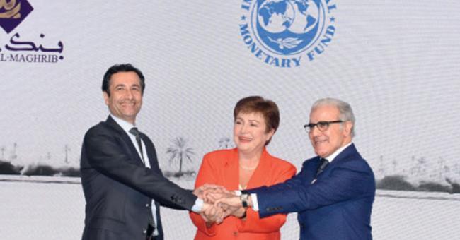 Kristalina Georgieva, présidente du FMI aux côtés de Abdellatif Jouahri, gouverneur de la Banque centrale et Mohamed Benchaâboun, l'argentier du royaume © DR