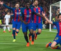 La joie des joueurs du FC Barcelone après la remontada historique contre le PSG en mars 2017 (0-4,6-1)©FCBARCELONA