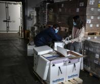 Un entrepôt de stockage des doses du vaccin de Pfizer/BioNTech en France
