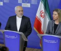 Mohammad Javad Zarif, ministre des Affaires étrangères de l'Iran, et Federica Mogherini, ancienne Haut représentant de l'Union pour les affaires étrangères et la politique de sécurité © Olivier Hoslet/EPA