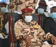 Mahamat Idriss Déby, fils d'Idriss Déby Itno et chef du Conseil militaire de transition (CMT), lors des obsèques du président défunt, le 23 avril 2021 à N'Djamena © Issouf Sanogo, AFP