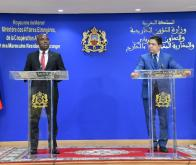 Point de presse conjoint à l'issue de l'entretien bilatéral entre M. Nasser Bourita et son homologue du Malawi, M. Eisenhower Nduwa Saxon Mkaka © Twitter @MarocDiplomatie