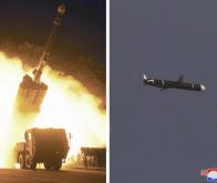 La Corée du Nord a effectué des essais de missiles de croisière à longue portée, comme le montre cette combinaison de photos non datées fournies par KCNA, le 13 septembre 2021 © KCNA, via AFP