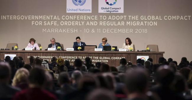 L'adoption formelle du Pacte mondial pour des migrations sûres, ordonnées et régulières. Marrakech, décembre 2018 ©️ APSIPA