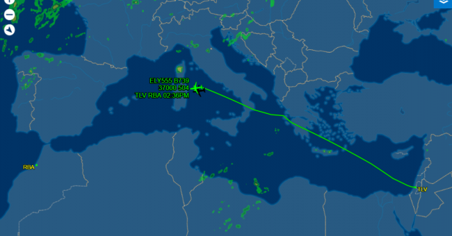 Le vol LY555 à destination de Rabat © capture écran