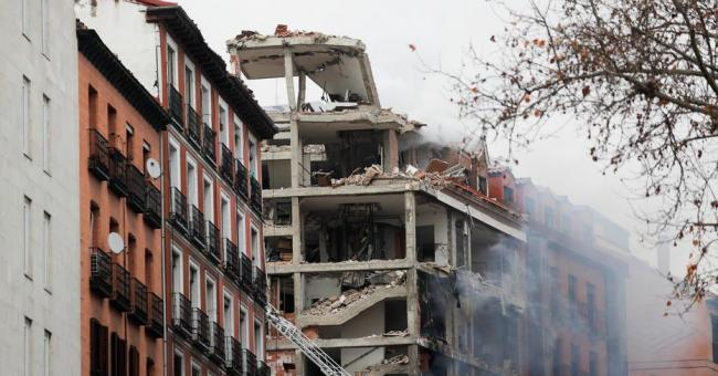Les images de l'explosion due au gaz à Madrid