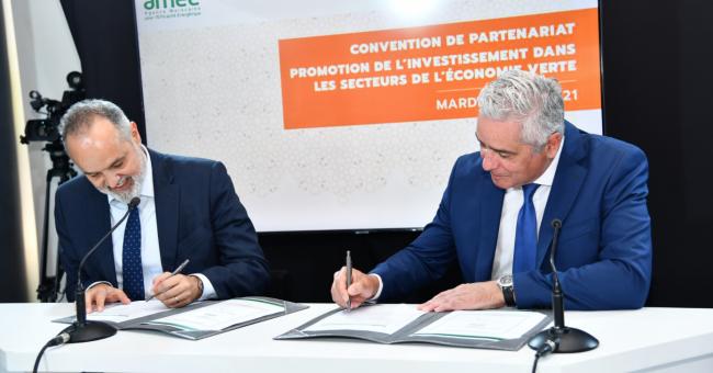 Saïd Mouline, le Directeur général de l'AMEE, et Jalil Sebti, le Directeur général de la banque commerciale du groupe BCP © DR