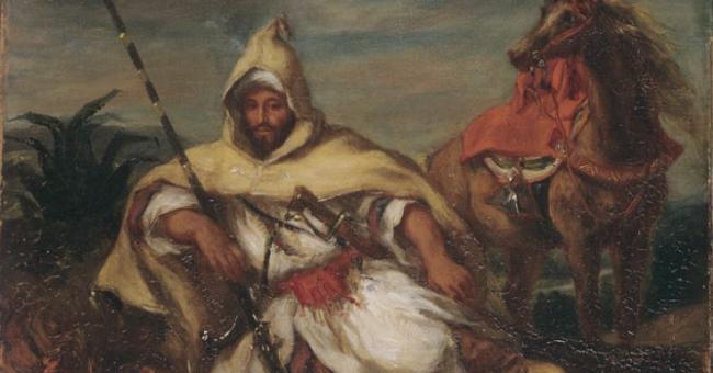 """Eugène Delacroix : """"Un Cavalier, soldat de la garde de l'empereur du Maroc"""", 1845 © DR"""