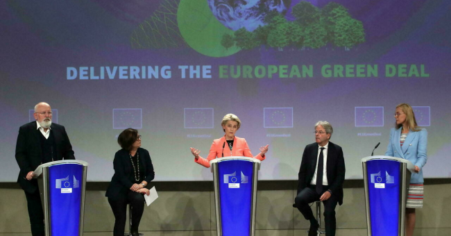 La présidente de la Commission européenne, Ursula von der Leyen, le 14 juillet 2021, à Bruxelles. © Yves Herman, Reuters
