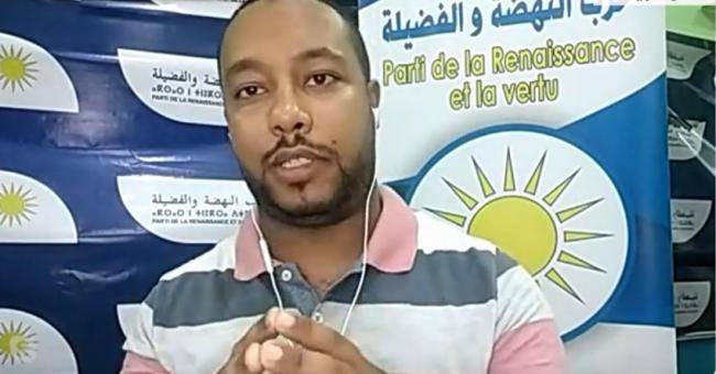 Mostafa Boumia, membre du PRV, présentant le programme de son parti sur le plateau de Médi1TV © Capture d'écran, YouTube
